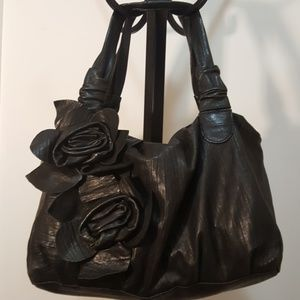 Vince Camuto Black Leather Satchel w/ Flowers